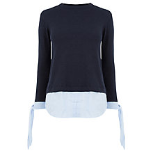 Buy Warehouse Stripe Cuff Jumper, Navy Online at johnlewis.com