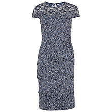 Buy Gina Bacconi Metallic Two Tone Layered Lace Dress, Navy/White Online at johnlewis.com
