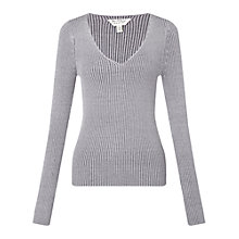 Buy Miss Selfridge Ribbed V-Neck Jumper Online at johnlewis.com