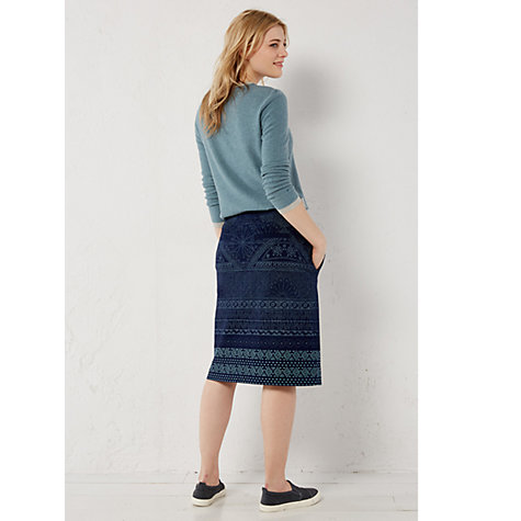 buy white stuff poetry print denim skirt denim lewis