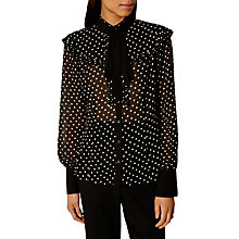 Buy Karen Millen Polka Dot Blouse, Black/White Online at johnlewis.com