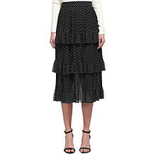 Buy Whistles Lolita Amena Tiered Skirt, Black/White Online at johnlewis.com
