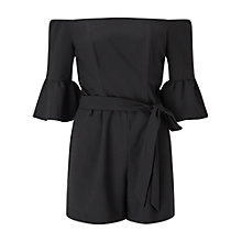 Buy Miss Selfridge Bardot Flute Sleeve Playsuit, Black Online at johnlewis.com