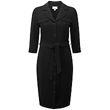 Buy Pure Collection Silk Linen Shirt Dress, Black Online at johnlewis.com