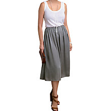 Buy Pure Collection Evangeline Midi Skirt, Silver Mink Online at johnlewis.com