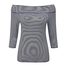 Buy Pure Collection Kimora Jersey Bardot Top, Navy/White Online at johnlewis.com