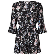 Buy Miss Selfridge Petite Floral Wrap Playsuit, Multi Online at johnlewis.com
