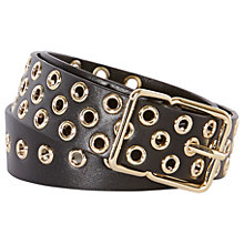 Buy Karen Millen Leather Eyelet Belt, Black Online at johnlewis.com