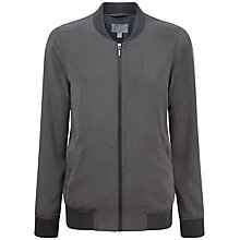 Buy Pure Collection Renee Silk Bomber Jacket, Pewter Online at johnlewis.com