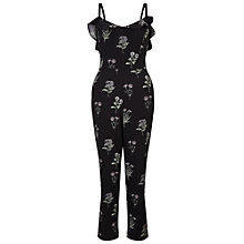 Buy Miss Selfridge Ruffle Strap Jumpsuit, Black Online at johnlewis.com