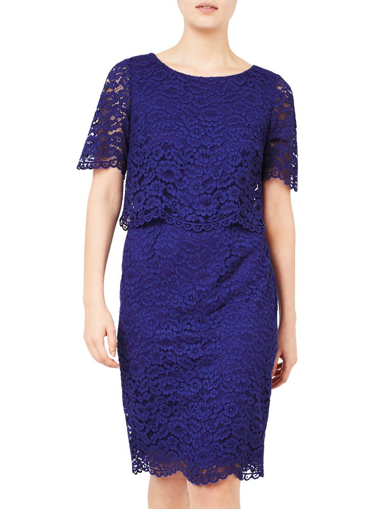 Jacques Vert Jacques Vert Floating Bodice Lace Dress, Mid Blue