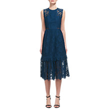 Buy Whistles Rosie Lace Panel Dress, Prussian Blue Online at johnlewis.com