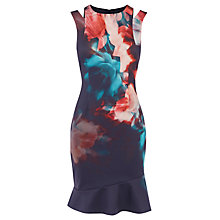 Buy Karen Millen Floral Print Pencil Dress, Blue/Multi Online at johnlewis.com