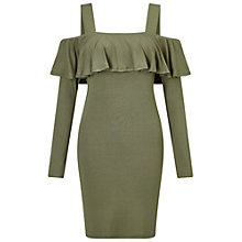 Buy Miss Selfridge Frill Cold Shoulder Dress, Khaki Online at johnlewis.com