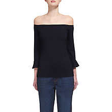 Buy Whistles Frill Cuff Bardot Top, Navy Online at johnlewis.com