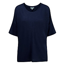 Buy Pure Collection Relaxed Luxury Linen Top, Navy Online at johnlewis.com