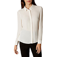 Buy Karen Millen Pleated Back Soft Shirt, White Online at johnlewis.com