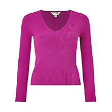 Buy Miss Selfridge V-Front Rib Jumper, Magenta Online at johnlewis.com