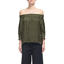 Buy Whistles Penelope Off The Shoulder Top, Khaki Online at johnlewis.com