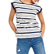 Buy Oasis Bird Wiggle Stripe Top, Navy Online at johnlewis.com