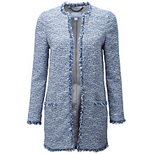 Buy Pure Collection Textured Tweed Jacket, Mid Blue Online at johnlewis.com