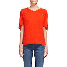 Buy Whistles Tie Cuff Linen T-Shirt, Red Online at johnlewis.com