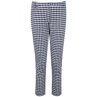 Pure Collection Hayleigh Capri Trousers, Navy Gingham.
