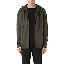 Buy AllSaints Aryan Full Zip Hoodie, Black/Khaki Brown Online at johnlewis.com