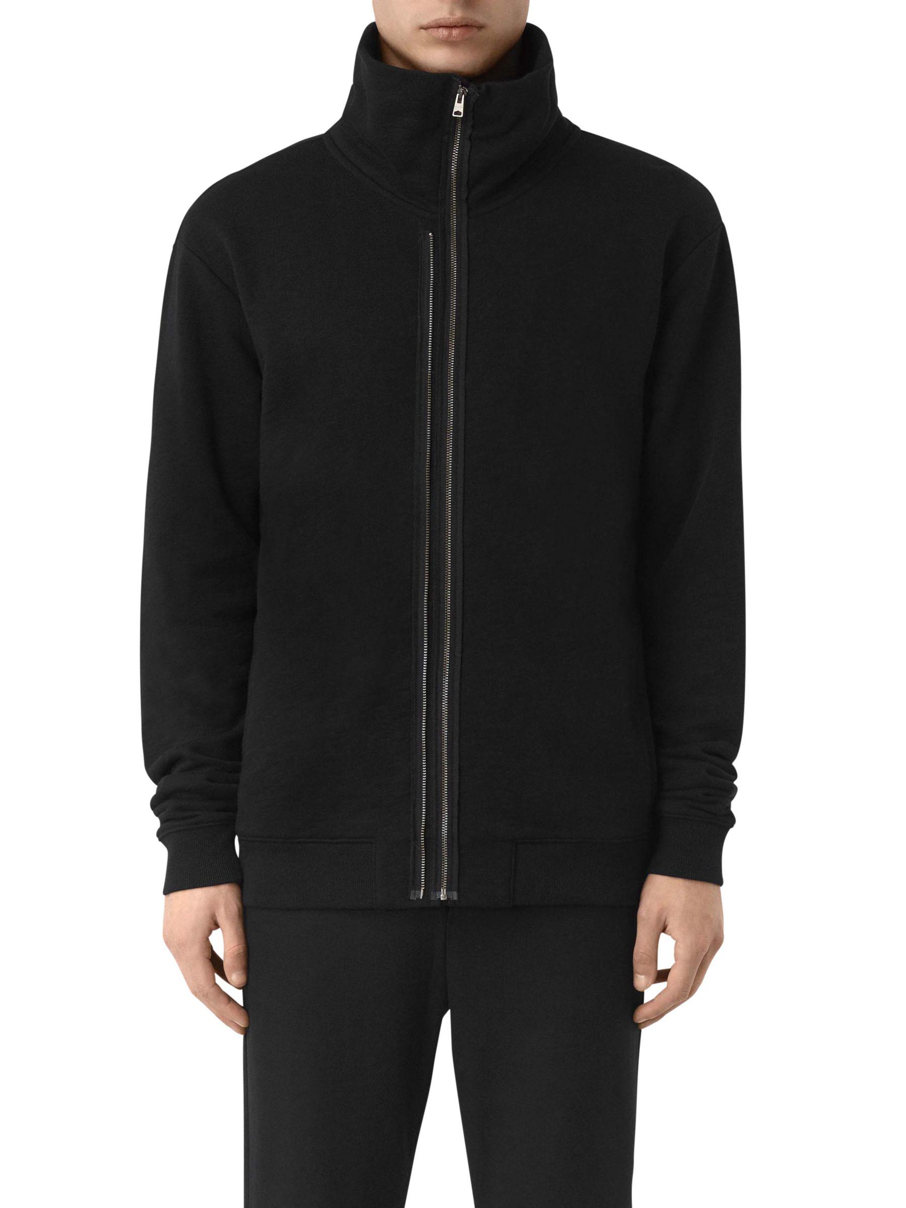 AllSaints AllSaints Double Funnel Neck Full Zip Sweatshirt, Jet Black
