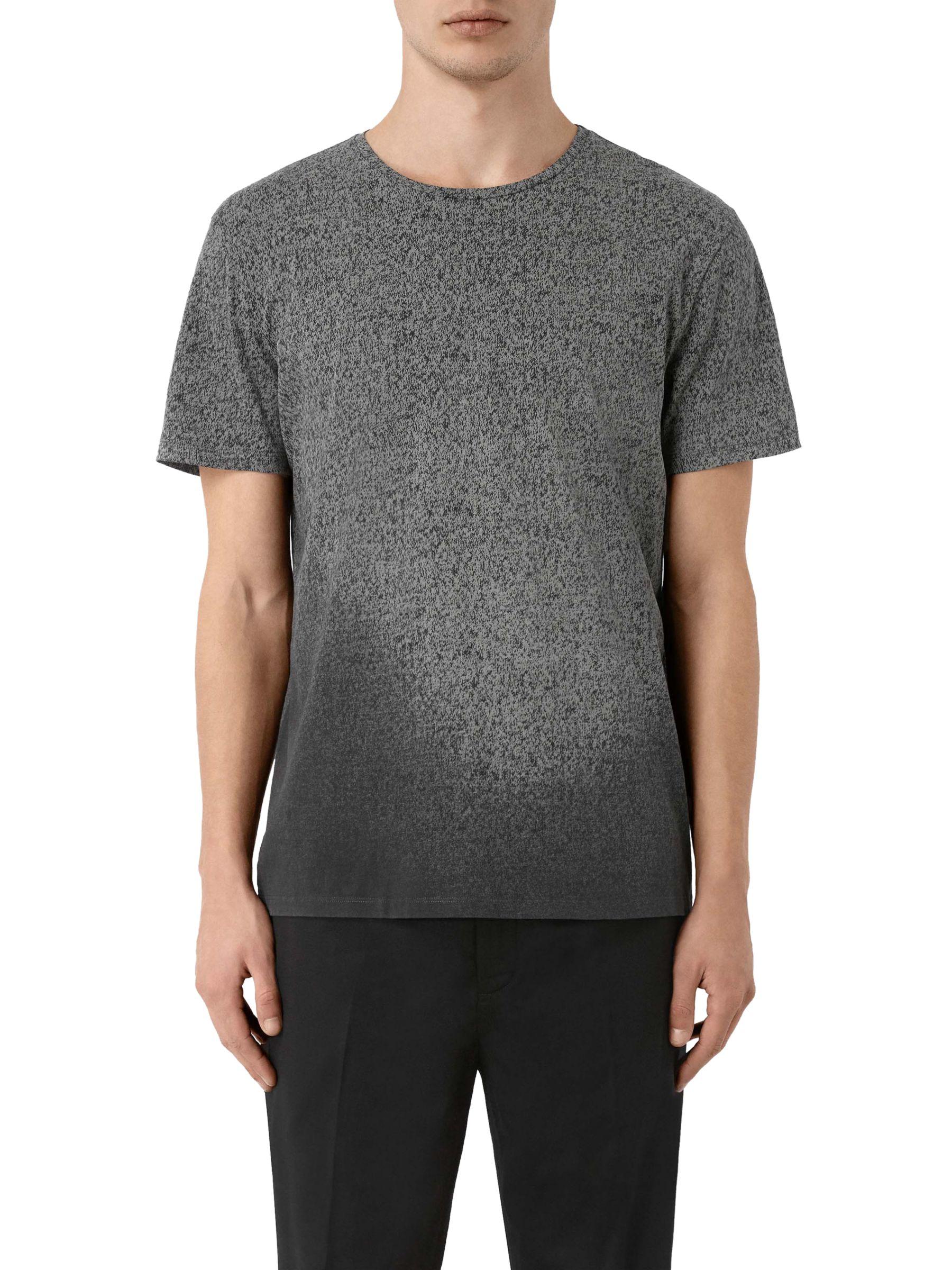 AllSaints AllSaints Mono Gauge Crew T-Shirt, Vintage Black/Light Grey
