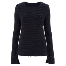 Buy Finery Clissold Directional Rib Knitted Jumper, Navy Online at johnlewis.com