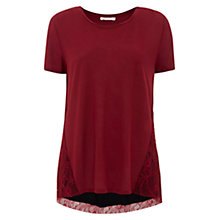 Buy Finery Vienna Lace Back Detail Jersey T-Shirt, Rioja Online at johnlewis.com