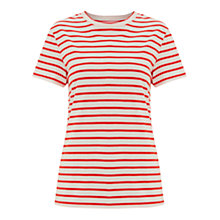 Buy Finery Wisteria Zip Detail Stripe Jersey T-Shirt, Red/Off White Online at johnlewis.com