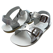 Buy Salt-Water Children's Sweetheart Leather Sandals, Silver Online at johnlewis.com