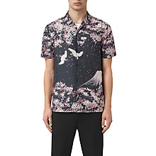 Buy AllSaints Sakura Short Sleeve Slim Shirt, Dark Grey Online at johnlewis.com