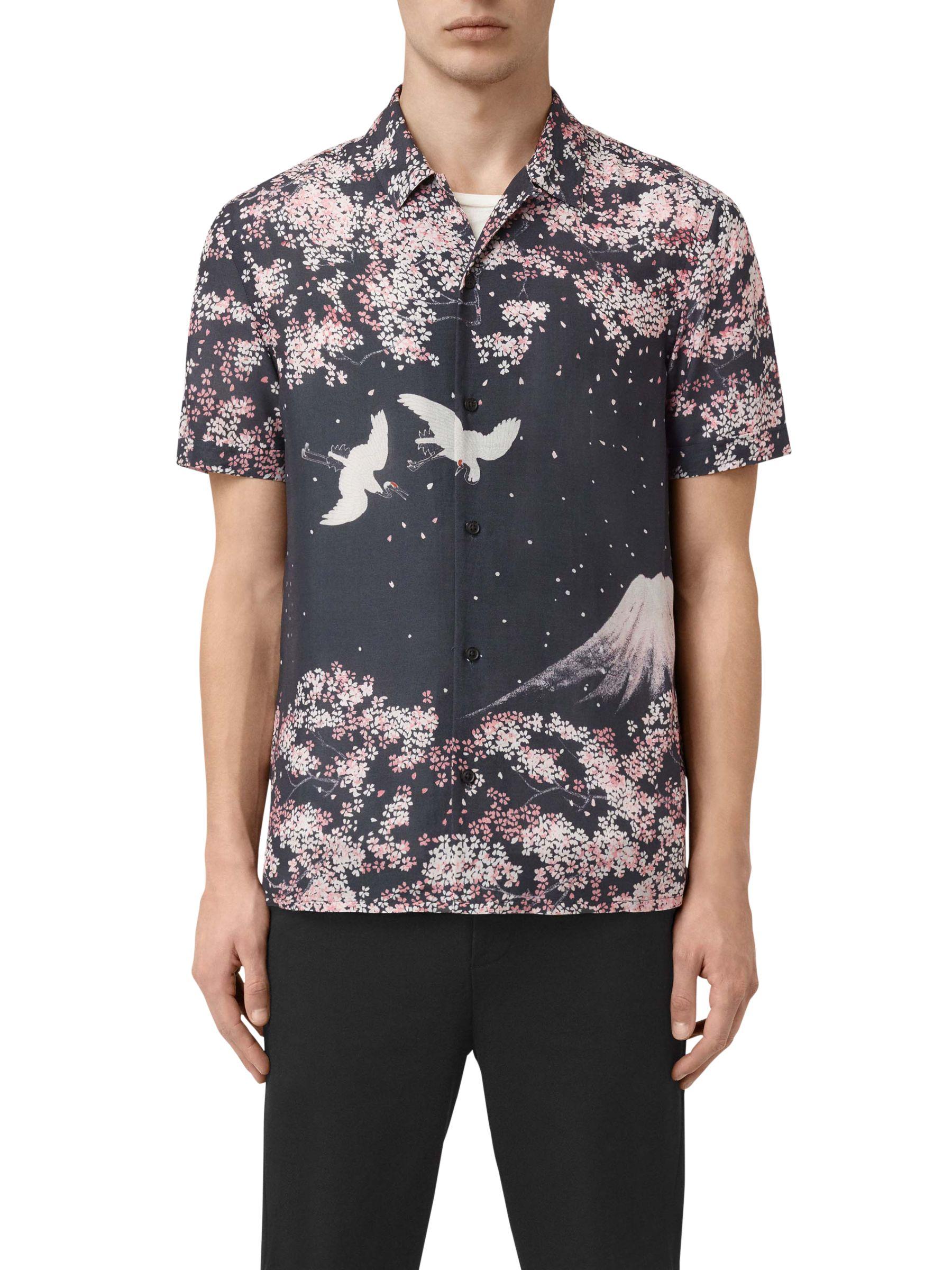 AllSaints AllSaints Sakura Short Sleeve Slim Shirt, Dark Grey