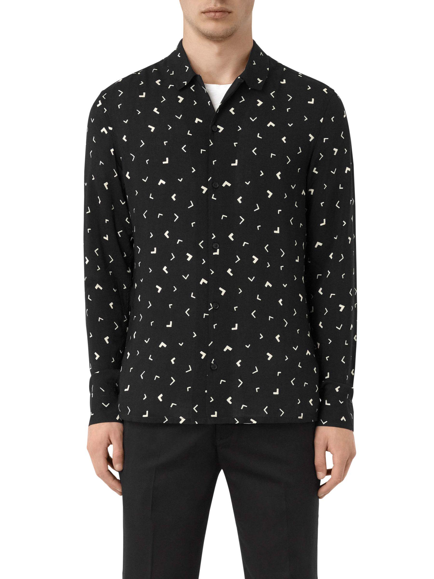 AllSaints AllSaints Vee Abstract Long Sleeve Slim Shirt, Jet Black