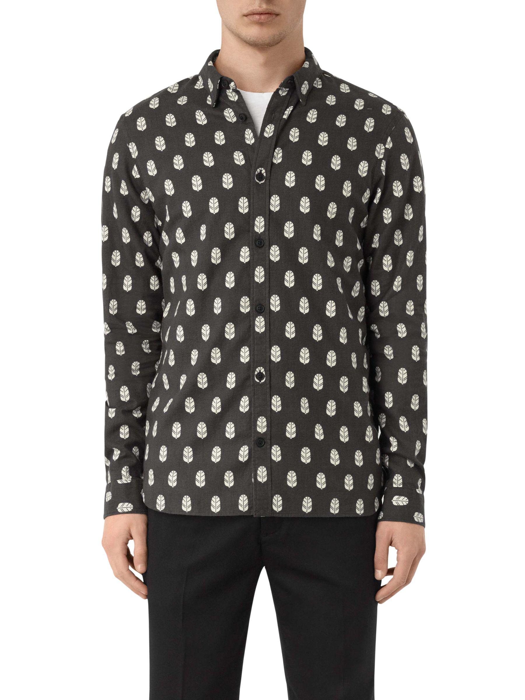 AllSaints AllSaints Atlus Feather Print Slim Fit Shirt