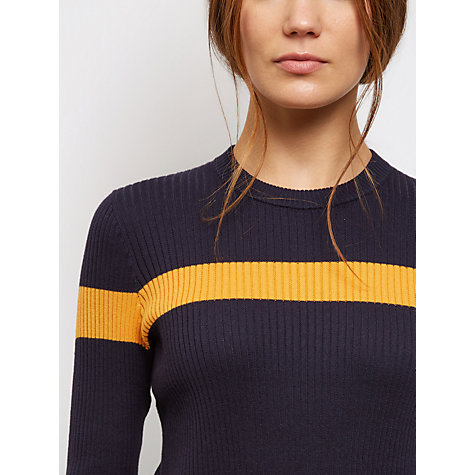 Buy Jaeger Ribbed Stripe Cropped Sweater, Navy Online at johnlewis.com