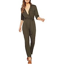 Buy Miss Selfridge Utility Jumpsuit, Khaki Online at johnlewis.com
