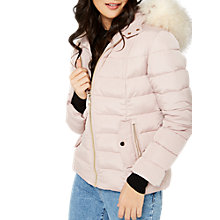 Buy Miss Selfridge Petites Quilted Puffa Jacket, Pink Online at johnlewis.com