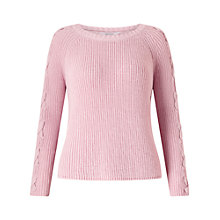 Buy Miss Selfridge Petite Lattice Sleeve Jumper, Pink Online at johnlewis.com