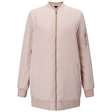 Buy Miss Selfridge Longline Bomber Jacket, Pink Online at johnlewis.com