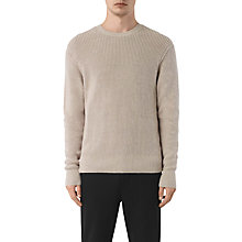 Buy AllSaints Rothay Ribbed Crew Neck Jumper, Taupe Marl Online at johnlewis.com