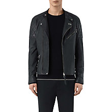 Buy AllSaints Den Biker Leather Jacket, Ink Navy Online at johnlewis.com