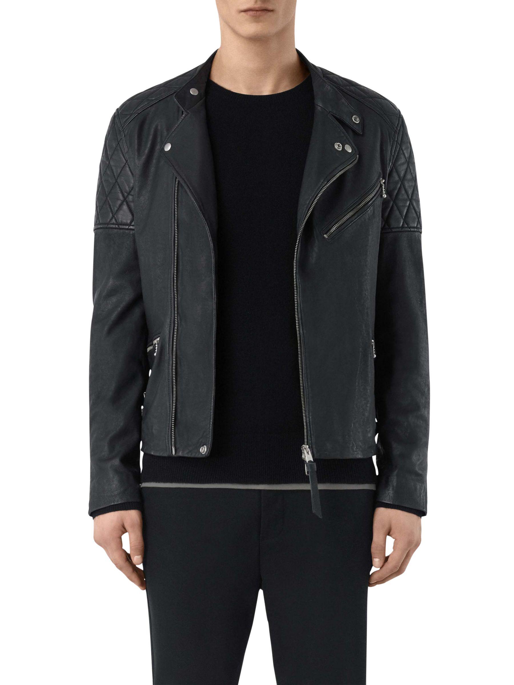 AllSaints AllSaints Den Biker Leather Jacket, Ink Navy