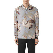 Buy AllSaints Wader Japanese Print Slim Fit Shirt, Chrome Grey Online at johnlewis.com