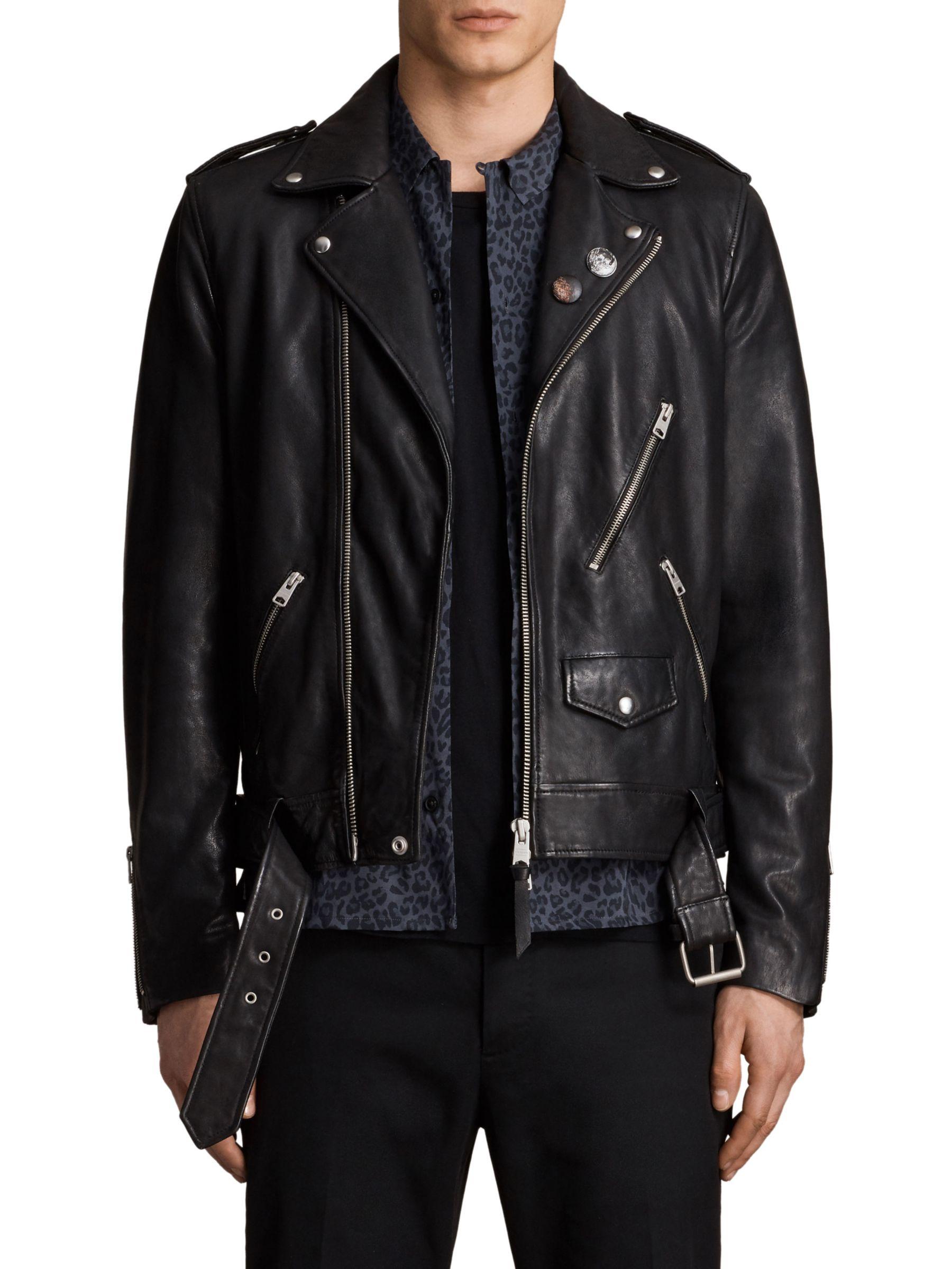 AllSaints AllSaints Volt Biker Leather Jacket, Black