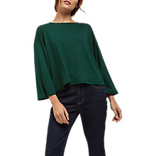 Buy Jaeger Jersey Boxy Top, Green Online at johnlewis.com