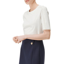 Buy L.K. Bennett Lana Lace Detail Top, Cream Online at johnlewis.com
